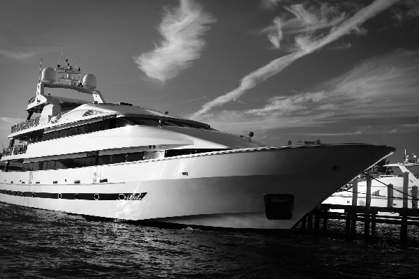 Large private motor yacht at mooring